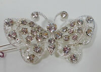 Stunning Silvertone Butterfly Crystal Barrett To Clip In Hair Or Many Items