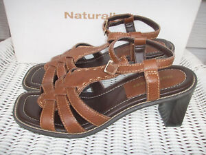e8a667081f Naturalizer WOMENS 7 M Strappy Sandals Heels Brown Leather Cushion ...