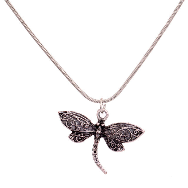 sweater Jewelry Silver Plated long chain Dragonfly Pendant Necklace xmas