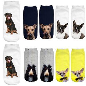 Femmes-mignonnes-fille-3D-Cartoon-Funny-chiens-etonnante-impression-socquettes