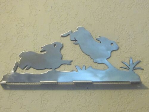 STEEL RAW METAL FINISH NO NAME RABBITS MAILBOX TOPPER