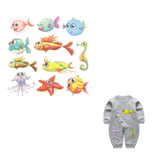 Ocean Animal Iron On Patches Washable Heat Transfer Sticker Clothes Applique PER