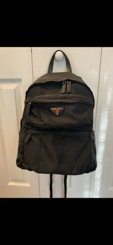 prada Black Zip Nylon Backpack