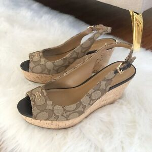 Coach-brown-wedge-sling-back-shoes-Size-8-Ferry-Logo