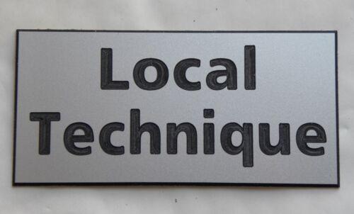 """plaque gravée adhésive /""""Local Technique/"""" ft 48 x 100 mm 15 couleurs disponibles"""