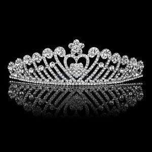 92t Pageant Bridal Wedding Silver Plated Crystal Swan Heart Tiara W/ Comb Bridal Jewelry