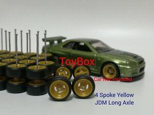 Custom Wheels HOT WHEELS RUBBER WHEELS TIRES 10 SETS 1/64 4 Spoke 10mm Yellow