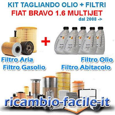 FIAT NUOVA BRAVO 1.6 MJT KIT TAGLIANDO 4 FILTRI + 5 LT OLIO Q8 5W30 ANTIPARTICO