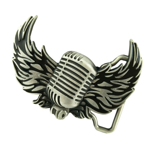 Cowboy Western Country Music Microphone Flying Wings Rock Belt Buckle Silver