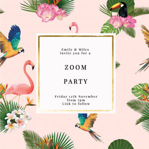 DIGITAL VIRTUAL FILE INVITE FOR ZOOM PARTY,DRINKS,BIRTHDAY,PALM LEAVES/FLAMINGO