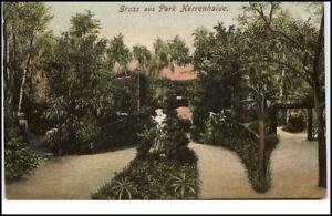 Burgstaedt-Sachsen-alte-Grusskarte-1909-gelaufen-Partie-im-Park-Herrenhaide