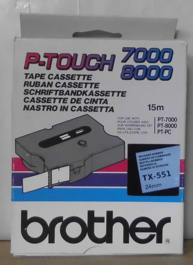 Brother TX-551 P-Touch Tape schwarz blau 24mm x 15m  PT7000 PT8000 PT-PC OVP | Ausgezeichnetes Handwerk  | Elegantes und robustes Menü  | Günstige Bestellung