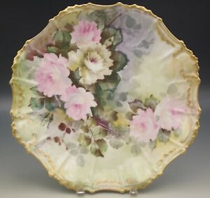 COIFFE-LIMOGES-BOLD-ROSES-12-034-PLATTER-PLATE-HAND-PAINTED-ANTIQUE-1891-1914