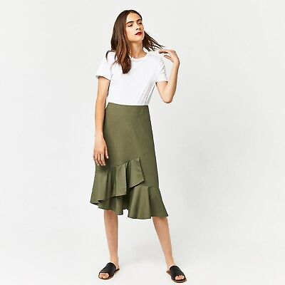 WAREHOUSE Khaki Cotton Frill Hem Skirt 6/8/10/12/14/18 RRP £39