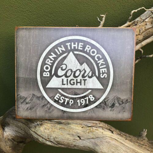"Vintage Look /""Born in the Rockies/"" Coors Light Metal Beer Sign Tin Tacker"