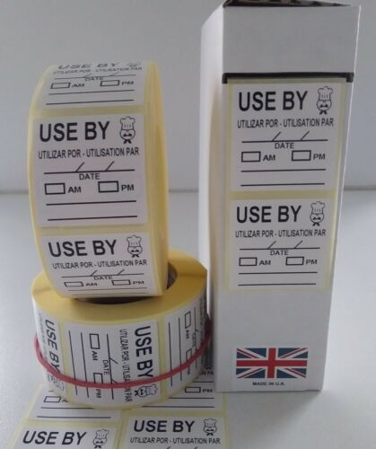 Use By Labels Food Labels,Catering Stickers 36mm x 36mm Roll 10 Or 500 Or 1000