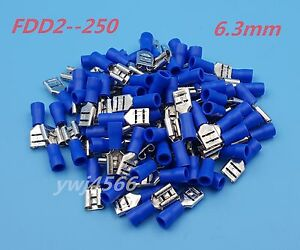 100Pcs  6.3mm FDD1.25-250 16-22 AWG Insulated Female Spade Wire Crimp Terminal