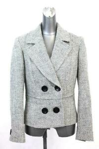 womens-gray-ivory-ETCETERA-double-breasted-blazer-jacket-tweed-wool-cotton-S-6