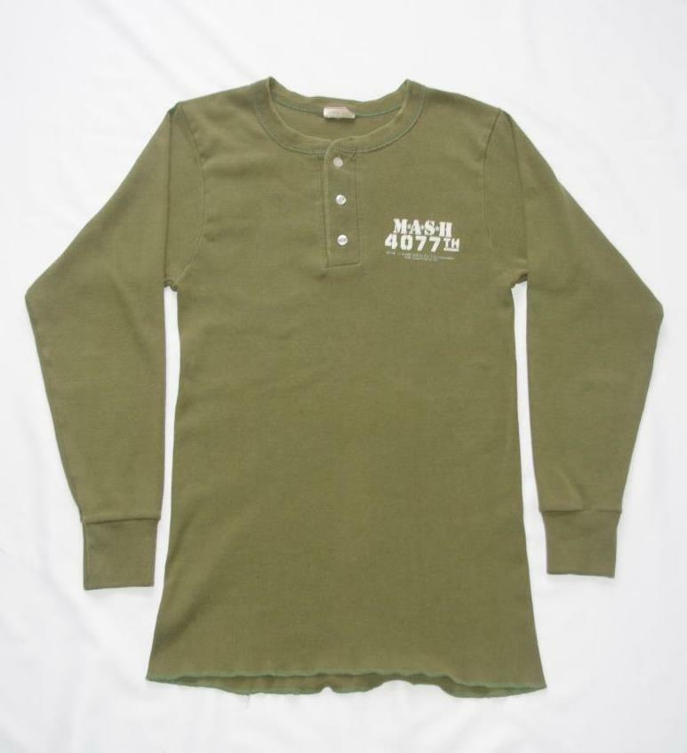 225d7477f Vintage MASH Shirt Size Small Henley Army Green Long Sleeve 1981 ...
