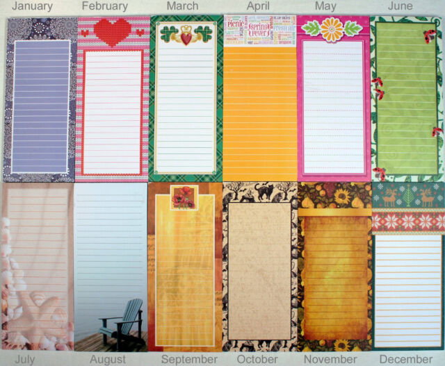 Set of 12 Magnetic Memo Note Pads, Seasonal Monthly Themes (1 Complete Year)
