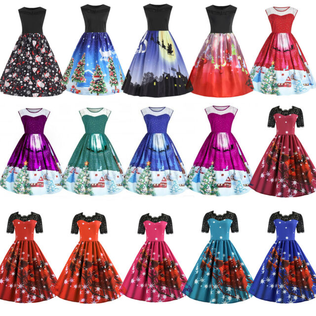 Women Christmas Skater Swing Print Dress Rockabilly Xmas Summer Sleeveless Skirt