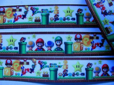 """BB Ribbon SUPER MARIO & FRIENDS 1m grosgrain 7/8"""" hair bows craft game"""