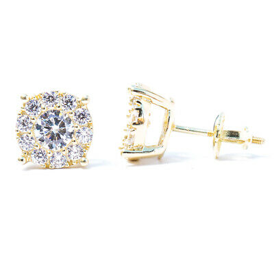 14k Yellow Gold Plated Sterling Silver 925-12mm Round CZ Stud Earrings