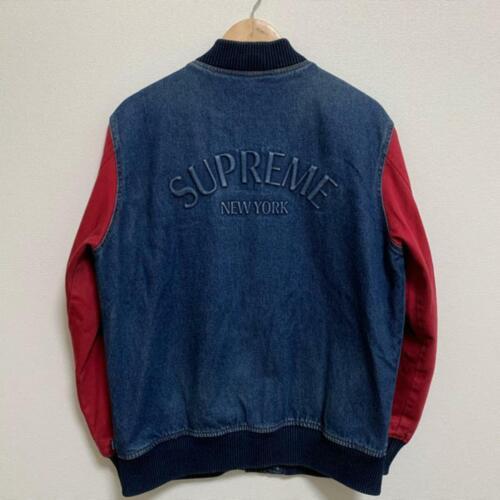 Used / supreme denim varsity jacket
