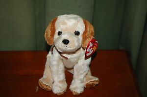 BADGES the Tan & Brown DOG - Ty Beanie Baby - MWMT - Soft and Cute