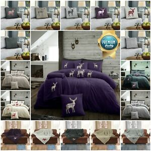 Teddy Stag Duvet Cover Embroidered Sofa Bed Throw Warm Blanket, Fleece C/Cover
