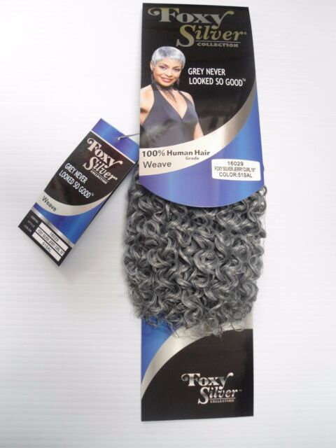 Foxy Silver 12 Salt N Pepper Human Hair Blend Jerry Curl Weave