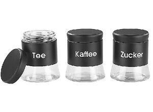 Aromadosen Vorratsdosen-Set für Tee, Kaffee und Zucker Schraubverschluss 3 Stk.