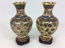 Vintage Cloisonne Multi Colored Enamel Gold tone Urn Vase Mirrored Set Pedestal