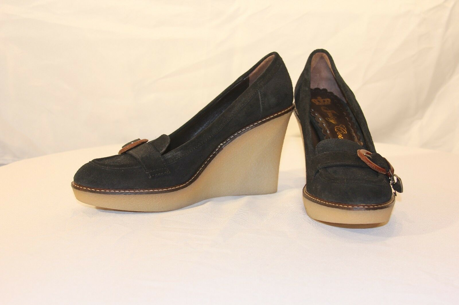 Juicy Couture Size 1/2 9 1/2 Size Black Leather Suede Charms Wedge Heels Pumps Shoes 9bdc47