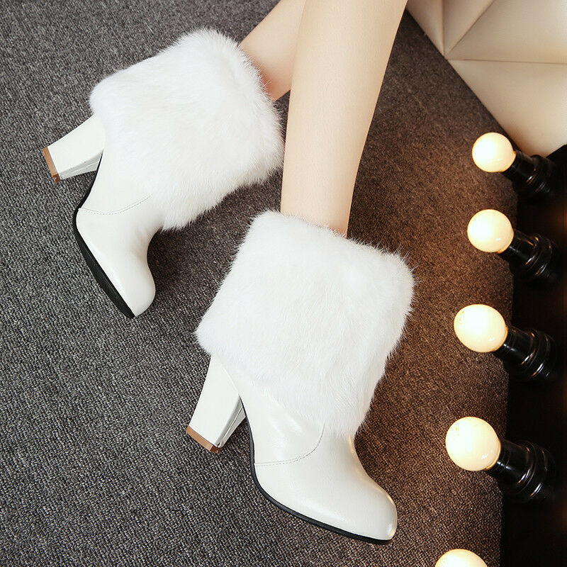 Women Fur Warm Ankle Boots Block High Heel Round Toe Boots Shoes Booties Big SZ