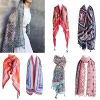 Scarf Summer Women's Ethnic Print Soft Beach Tassel Wrap Large Shawl Sun-proof