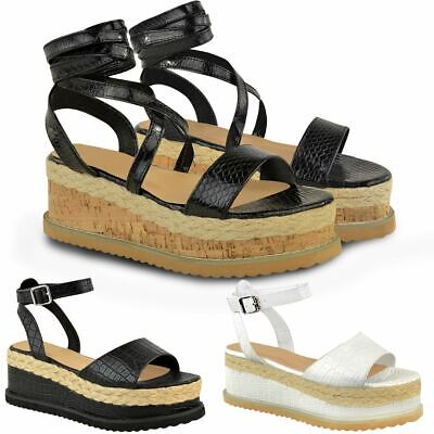 Logisch Womens Ladies Flatforms Sandals Flat Espadrilles Strappy Summer Ankle Strap Shoe BüGeln Nicht