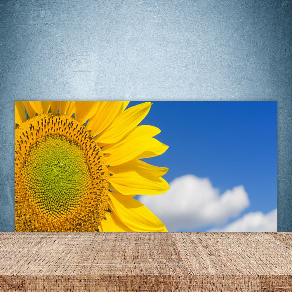 Crédence de cuisine en verre Panneau Paroi 100x50 Floral Tournesol Nuages