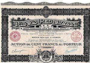 Minas Pedrazzini S.A. Aktie Paris 1926 Frankreich Gold + Silber Bergbau Mexico