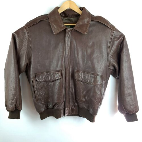 Orvis Leather Jacket Mens Brown Bomber Heavyweight