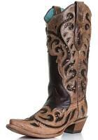 Ladies Corral Cowgirl Boots Vintage Chocolate Inlay Laser Boots C1183