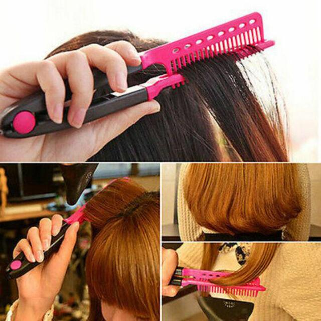 Fashion V Type Hair Straightener Comb DIY Salon Hairdressing Styling Tool K G8J3