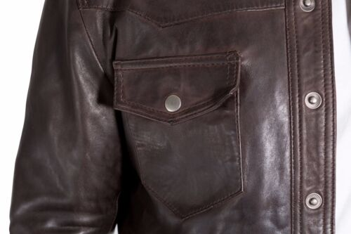 Men/'s Brown Leather Classic Slim Fit Shirt Stud Buttons Denim Shirt Style Jacket