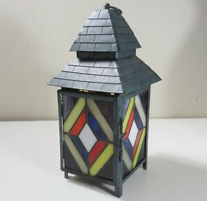 Sheet-metal-amp-Stained-Glass-Patio-Candle-Holder
