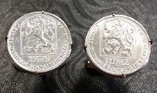 Vintage Czechoslovakia Lion & Shield Silver Tone Coin Cufflinks + Gift Box!