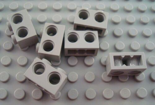 LEGO Lot of 6 Light Gray 1x2 Technic Bricks Pieces with 2 Holes