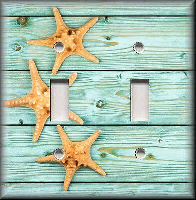 Beach Home Decor - Starfish Seafoam Wood Planks Metal Light Switch Plate Cover