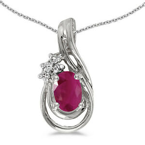 10k-White-Gold-Oval-Ruby-And-Diamond-Teardrop-Pendant-with-18-034-Chain