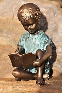 Lesender Junge Mit Buch Bronze Bronzefigur Garten Neu Kinder