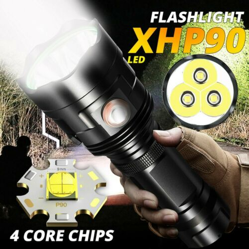 200000lm 3*XHP90 LED Flashlight Torch USB Rechargeable Lamp Tactical 18650 Light
